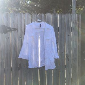 Large linen like button up by Cathy